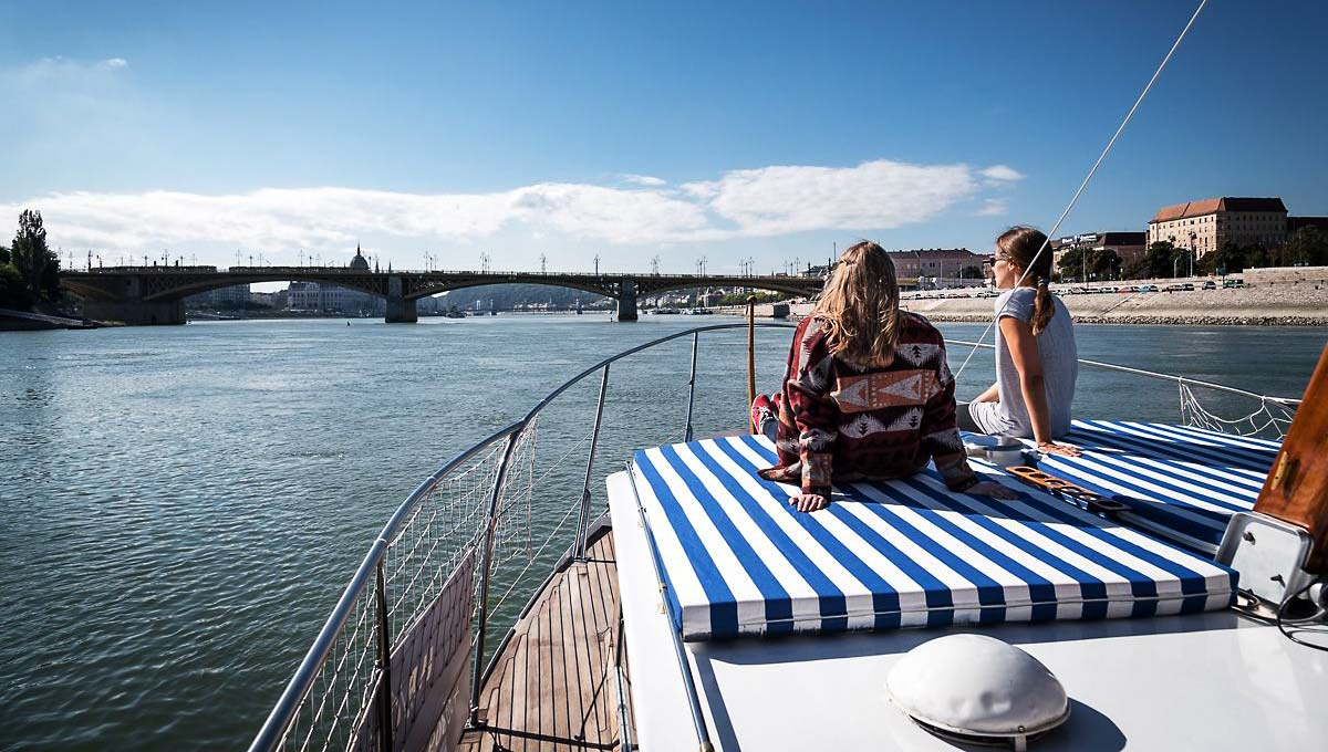 Sightseeing from the front deck of Thetis charter yacht