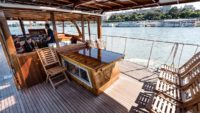 Thetis private yacht wooden deck
